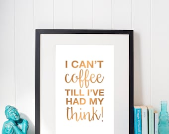 Downloadable Coffee Art. Digital wall print. Typographic art print