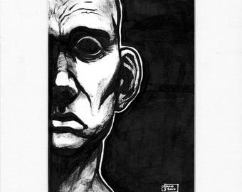 Original ink drawing in passe-partout, man portrait surreal dramatic black and white monochrome