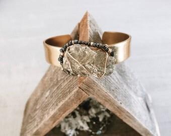 brass cuff, gemstone cuff, wire wrapped jewelry, boho jewelry, bohemian cuff, minimalist cuff, layering jewelry, brass jewelry, pyrite