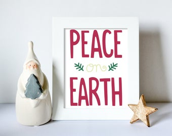 Peace on Earth, Christmas,, Red, Cosy, Xmas Print Wall art, Winter, Santa, framed prints, A4, A5, 8x10inch