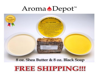 8 oz Combo Deal African Shea Butter w/ African Black Soap Raw - Unrefined Ivory Or Yellow 100% Pure Natural FREE SHIPPING!!