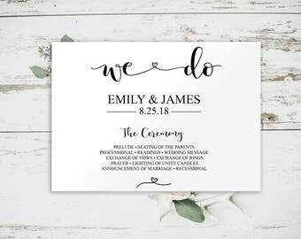 We Do Program, Wedding Program Template, Wedding Program Printable, Program Template, Editable Program, Wedding Template, Rustic, BD6043L