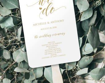 Wedding Program Fan, Gold Wedding Program, Wedding Program Template, Wedding Fans, Program Fan, Printable Program, Wedding Template, 0017