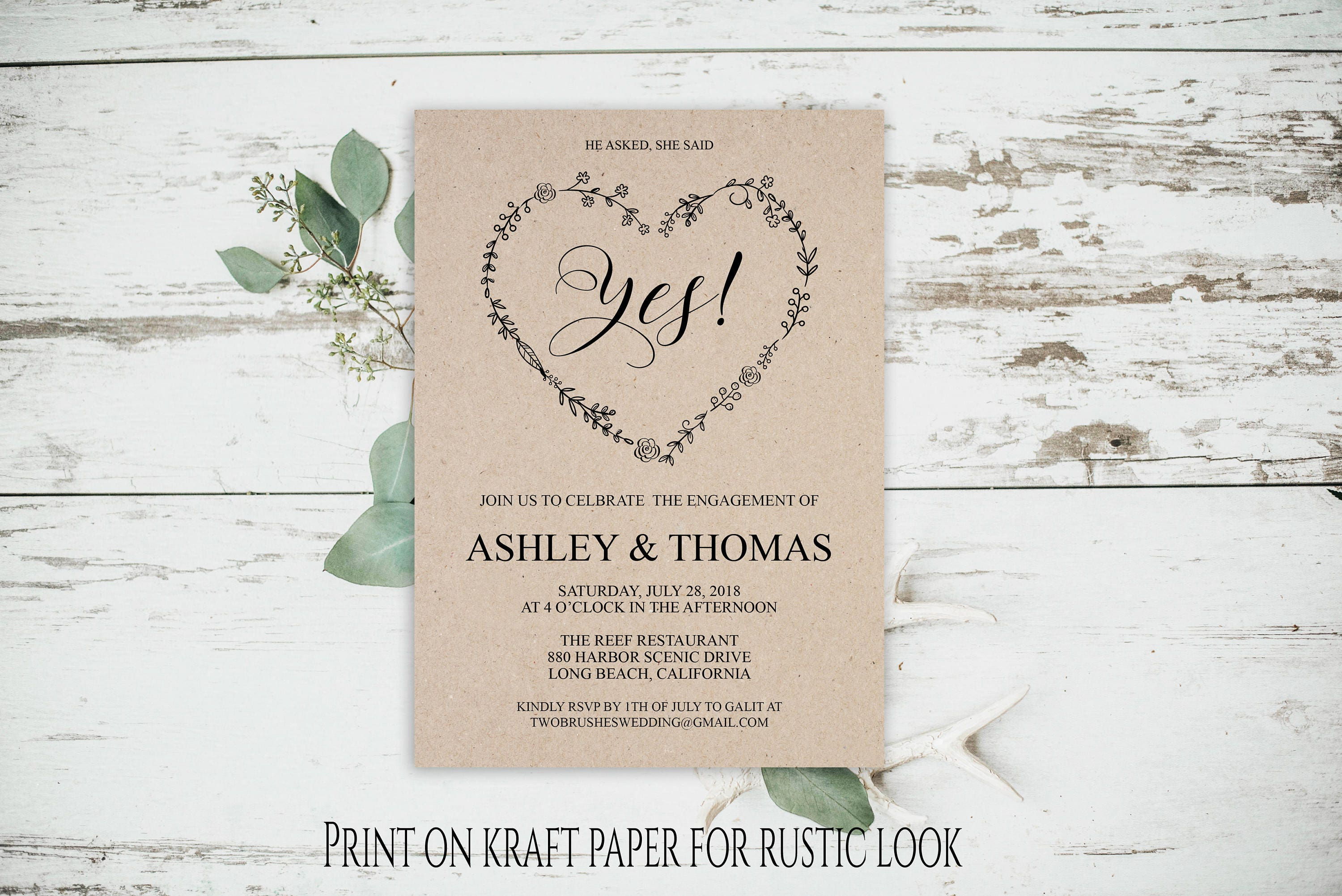 Engagement Party Invitation, Engagement Announcement, Rustic Card ...
