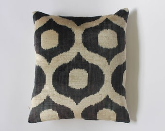 Silk Velvet Ikat cushion cover