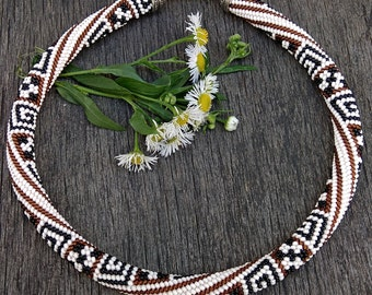 Necklace Greek style Beaded necklace Gift for women Birthday present Beadwork Jewelry - Bead Crochet Rope necklace - Office necklace-
