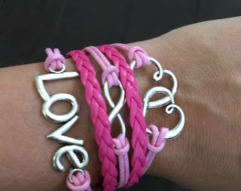 Love braided bracelet - handmade - color: pink