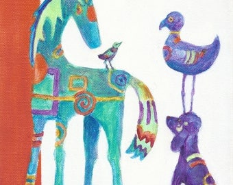 Nursery Art//Nursery Home Decor//Children's Art//Nursery//Horse//Bird//Dog//Animal Wall Decor