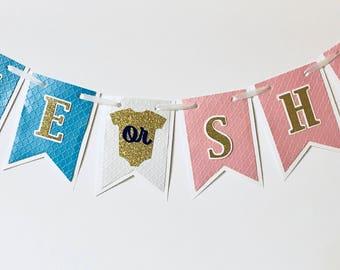 Gender Reveal Banner, He or She Banner, Boy or Girl Banner, Baby Shower, Gender Reveal