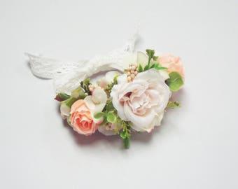 Wrist Corsage - Pink/ Peach