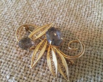Vintage Smoky Topaz Gold Brooch Pin