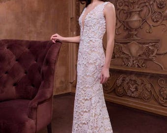 Lace wedding dress with detachable train, Sheer Backless
