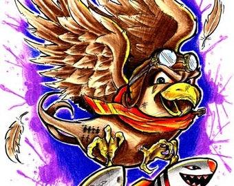 Bomber Sparrow Original Art 11x17 Print