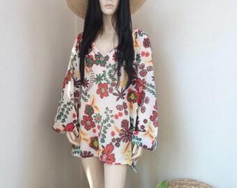 ALINE tunic - Cotton Voile - one size - Beach - Bohemian - Boho - Hippie - Ibiza - Gypsy - Beach dress - flowers - Beachwear - Zen