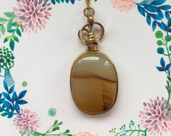 Unusual Rolled Gold, Brown Agate Pendant