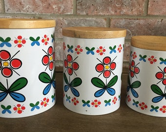 SALE * Retro Floral Metal Canisters