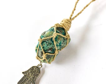 Chrysocolla Necklace Wrapped in Hemp