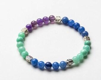 AMETHYST COLLECTION 6mm Gemstone Beaded Bracelet- Healing Stones - Yoga Bracelet- Inspired Jewelry- Gift Women