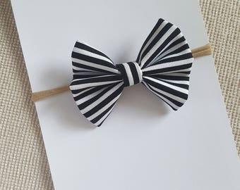 Black and White Stripes Classic Bow headband-nylon-hair tie- baby toddler kids