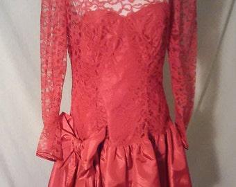 Vintage 1980s red prom dress