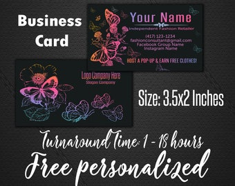 Chalkboard Business Cards - home office approved (fonts color) - Business Cards - Customized Business Card - Digital Download