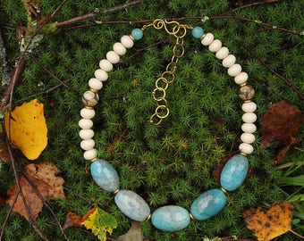 Blue and White Agate Ceramic Handmade Beads Necklace