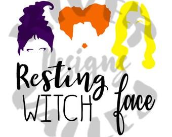 resting witch face, hocus pocus, svg, pdf, jpg, shirt design, cutting file, vinyl design, cricut, cameo