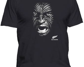 New Zealand All Blacks Face T Shirt Unofficial fan shirt- Comes in all sizes from Youth Small up to Adult 5XL and Adult Hoodies up to 5X