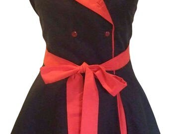 Vintage style 50's Red/Black chef bib style apron with double layer swing skirt