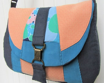 Ladies navy, turquoise and coral handmade crossbody/shoulder bag in mixed fabrics