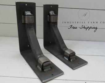 """Heavy Duty Brackets for Shelves – Industrial Shelf Bracket L Shape in Rustic Steel Decorative Support Bar 3"""" Width"""
