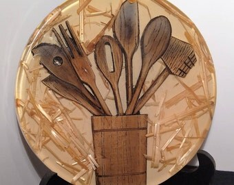 Vintage Acrylic Resin Trivet, Wooden Kitchen Tools and Straw Embeded