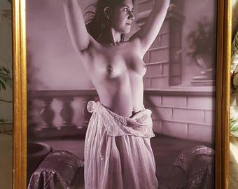 "Original Art Photo 12"" x 24"" framed - Nude woman"