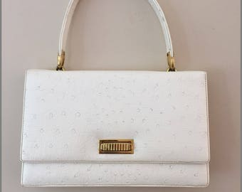 1960s Vintage White Stamped Ostrich Handbag/Tan Leather Interior/Multiple Compartments