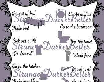 Elegant Purple Morning Routine Visual Schedule For Adults and Teens Digital File