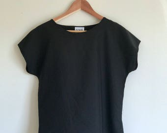 Vintage 1980s Black Boxy Top/ Short Sleeve/ Essential/ Everyday/ Satin Soft/ Blouse/ Made in USA