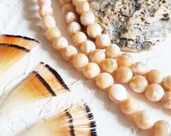 Shell beads, Mother of pearl, 8mm gemstone, Mala natural beads, 8mm mala, Natural pearls.