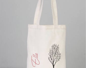 Book Bag, Cotton Book Bag, Personalized Book Tote, Pink Car Bag, Tree Bag, Canvas Book Bag, Cotton,  Tote Bag, Cotton Bags Logo