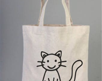 Color me in Cat, Coloring Cotton Tote Bag, Natural Gift Bags, Cotton Birthday Thank You Gifts,  Canvas Coloring Bag, Cotton Bag with Cat
