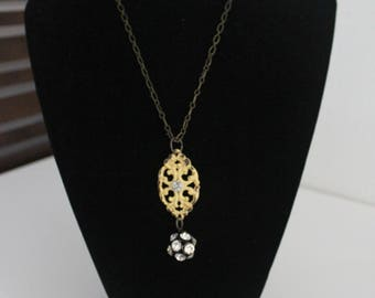 Antiqued Yellow Embellished Focal with Crystal Ball Necklace on Brass Chain