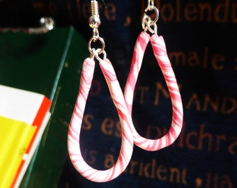 Pink and White Candy-cane Drop Hoop Earrings