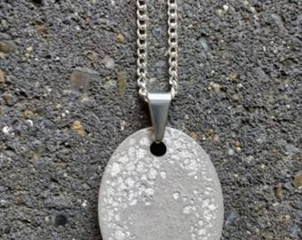Hand cast, exposed aggregate concrete pendant necklace - industrial minimalist style, great gift for brutalist architect