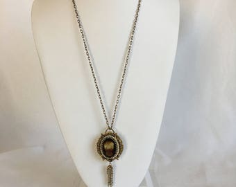 Faux Tortoise Shell Cameo Watch Necklace, Lucerne Watch Cameo, Tassels, Gold Tone, Vintage, 1960s