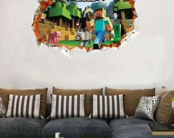 """1 Large Minecraft 3D Wall Decal 19x27"""" ~ Steve and Creeper ~ Stock#MC002"""