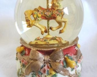 "Victorian-style ""Carousel Waltz"" Snow Globe on ceramic base - San Fran Music Company"