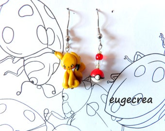 Pikachu and pokeball with polymer clay earrings