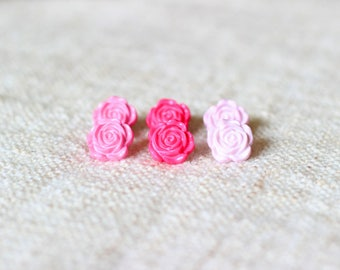 Dark Pink Flower Earrings
