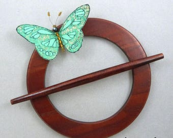 ablaze curtain Brown and green silk Butterfly magnet