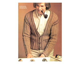 Mens/Boys Matching Cardigans - Knitting Pattern - Ribbed Long Sleeve V neck Pullover in Adult & Childrens Sizes