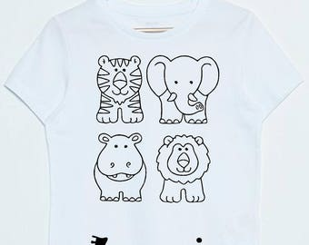 Tshirt animal jungle coloring personalized child name